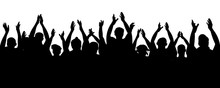 Applause Audience. Crowd People Cheering, Cheer Hands Up. Cheerful Mob Fans Applauding, Clapping. Party, Concert, Sport. Vector Silhouette