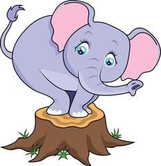 Kreskówka słoniątka przerażony na pniu drzewa