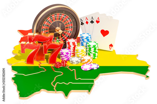 Foto  Casino and gambling industry in Bolivia concept, 3D rendering
