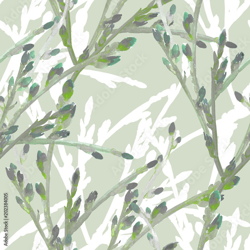 Spring branch of a tree.Seamless pattern. Wall mural