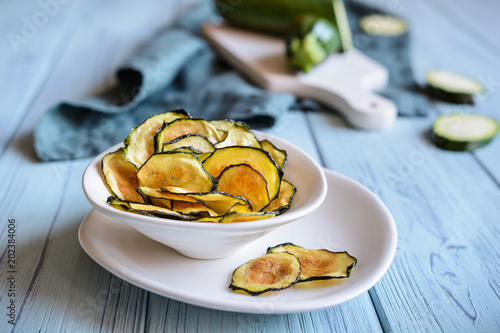 Homemade roasted zucchini chips