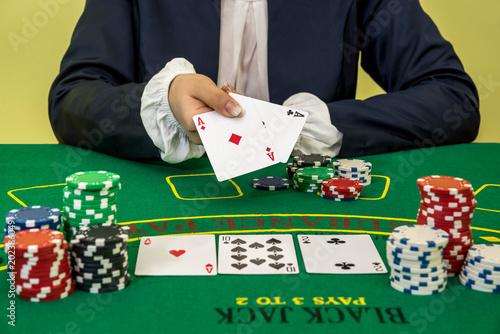 Woman play black jack in casino, gambling Poster