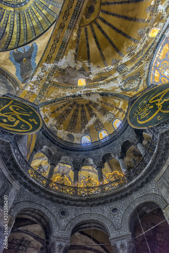 The Hagia Sophia (also called Hagia Sofia or Ayasofya) interior architecture, fa Poster