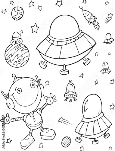 Poster Cartoon draw Cute Outer Space UFO Robots Vector Illustration Art