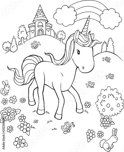 Tuinposter Cartoon draw Unicorn Pony Horse Fairytale Castle Vector Illustration Art