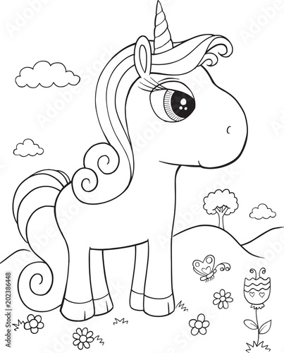 Staande foto Cartoon draw Unicorn Pony Horse Vector Illustration Art