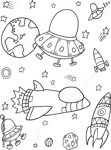Poster Cartoon draw Cute Outer Space Rocket Spaceship Vector Illustration Set