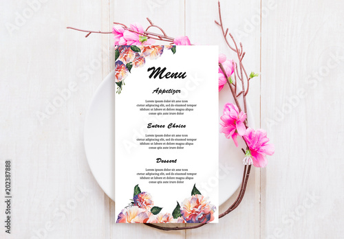 Wedding menu layout with watercolor flower illustrations buy this wedding menu layout with watercolor flower illustrations mightylinksfo
