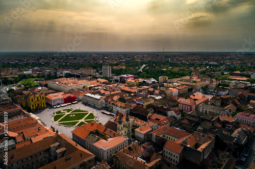 In de dag Luchtfoto Aerial view of a cloudy day above Timisoara's historical center, Romania taken by a professional drone