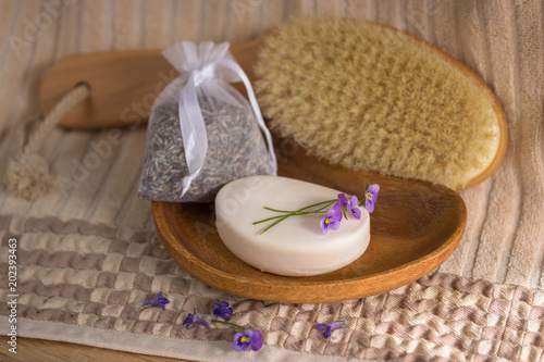 Spoed Foto op Canvas Spa Spa concept with pansies flowers