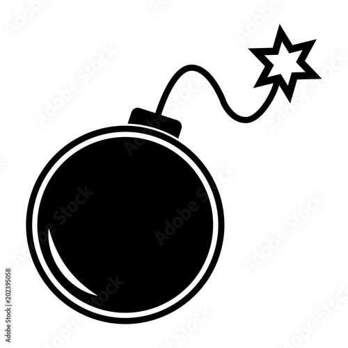 Tela  Simple, flat, black and white cartoon bomb icon/illustration
