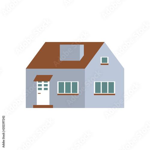 Flat Cartoon House Cute Bright Illustration Vector Illustration
