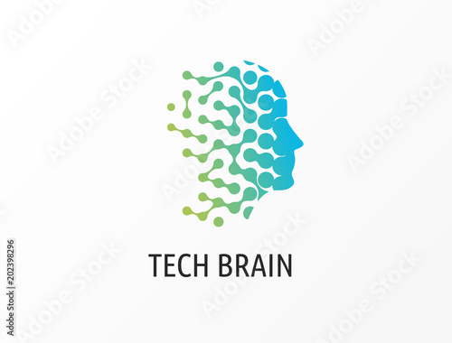 Brain, Creative mind, learning and design icons. Man head, people symbols Wall mural