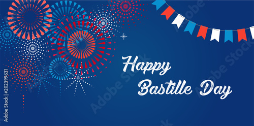 Photo Happy Bastille Day, the French National Day poster and concept design