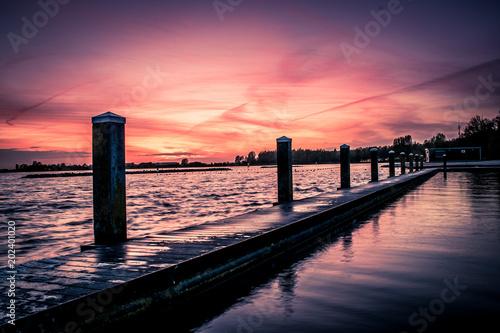 In de dag Noord Europa Sunset near the lake, Netherlands