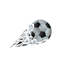 Polygonal Broken Soccer Ball With Fragments Tail. Football Vector Background With A Geometric Ball That Flies With A Trajectory From The Wreckage.