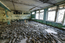 Gas Masks On The Floor In The Middle School In Pripyat, Chernobyl Exclusion Zone. Nuclear Catastrophe