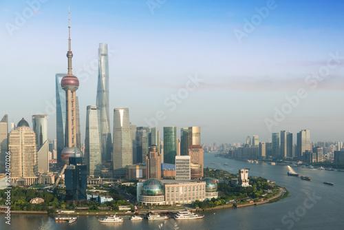 Photo Stands Shanghai Shanghai skyline city scape, Shanghai luajiazui finance and business district trade zone skyline, Shanghai China