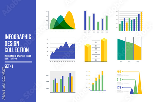 infographic vector element set color business graph report