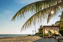 Relaxing Cabana On Beach In Mexico