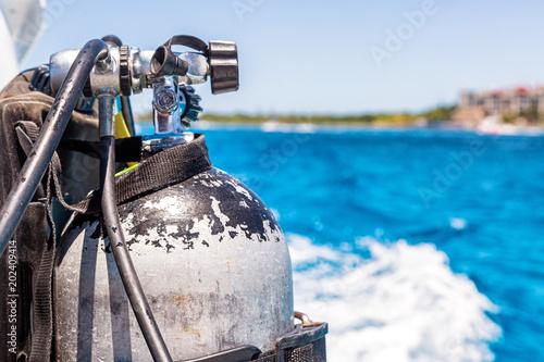 Scuba Diving Tank Closeup With Copy Space
