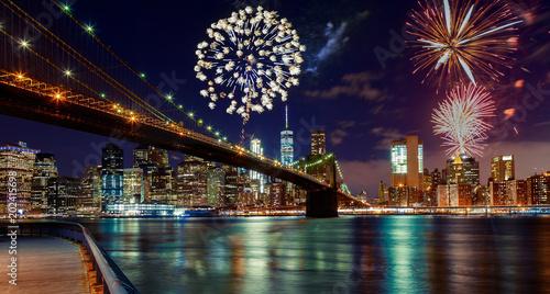 Fototapeta Fireworks over Manhattan, New York City. obraz