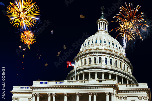 Independence Day fireworks celebrations over U.S. Capitol in Washington DC