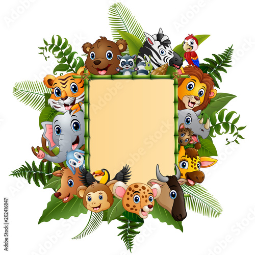 Staande foto Zoo Animals cartoon with blank sign bamboo