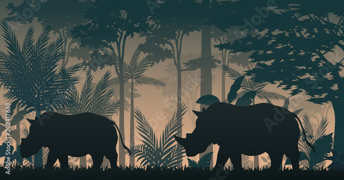 Animals silhouette at the inside forest Wallpaper Mural
