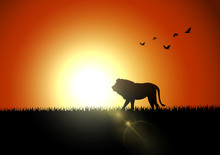 Silhouette Lion In Sunset At S...
