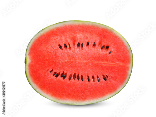 half cut fresh watermelon isolated on white background