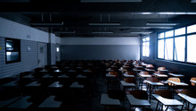 Empty Classroom Illuminated By...