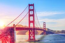 Scenic Golden Gate Bridge In San Francisco, California, USA, During Sunset