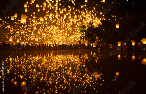 Fotografie, Obraz  Most famouse event YIPENG festival in Chiangmai, Thailand.