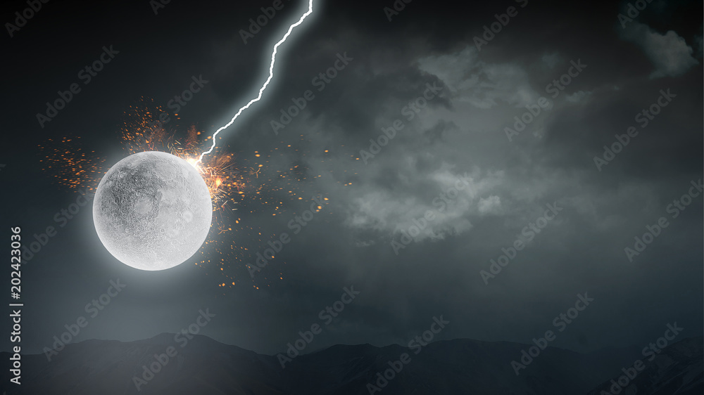 Lightning striking moon planet
