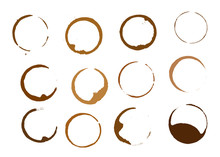 Set Of Coffee Round Stains And Blots