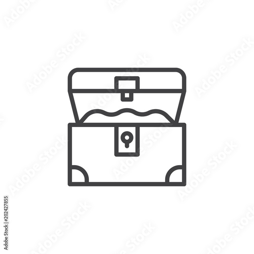 Foto Opened treasure chest outline icon