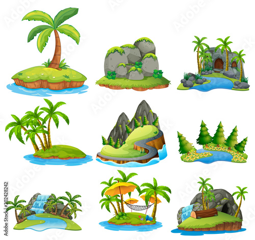 Photo Stands Kids Beautiful Nature Island on White Background