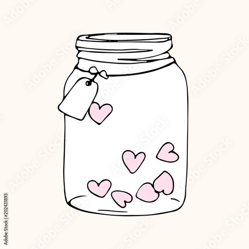 jar with hearts, doodle sketch Poster Mural XXL