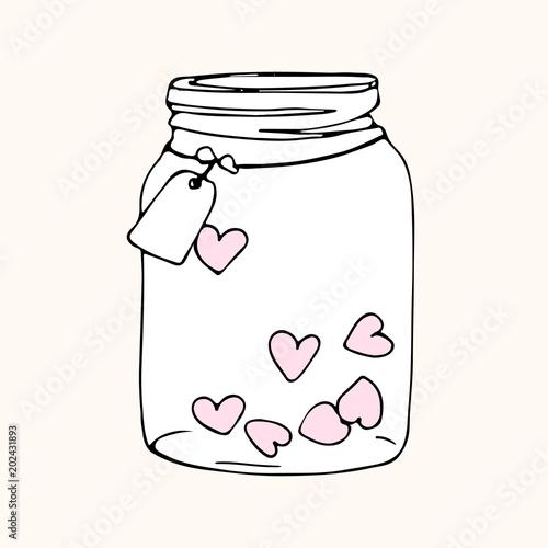 jar with hearts, doodle sketch Fototapet