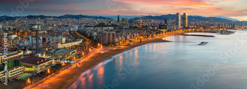 Spoed Foto op Canvas Barcelona Barcelona beach on morning sunrise