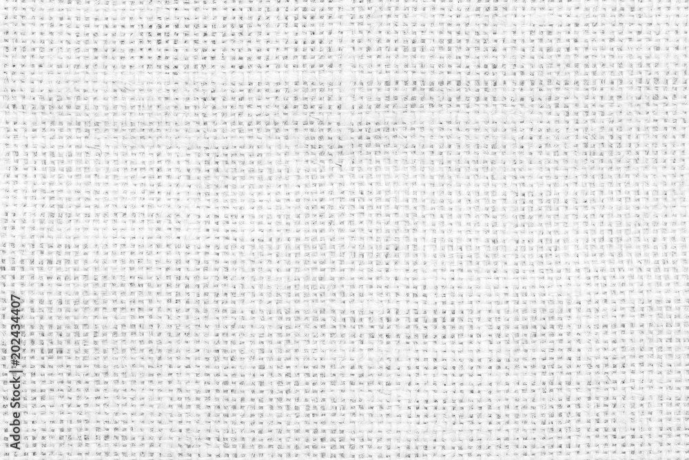 Fototapety, obrazy: Jute hessian white sackcloth woven burlap texture pattern background in old aged light grey color