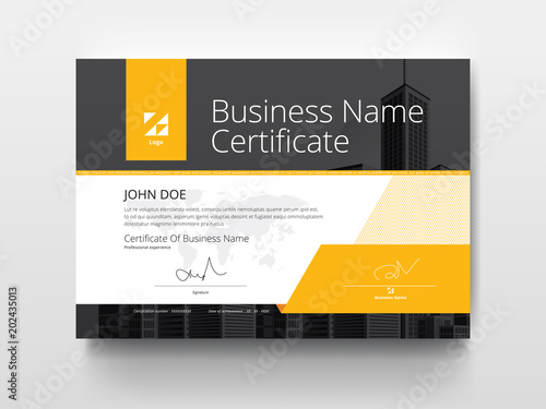 Fotomural Modern Business Certificate with Yellow and Black.