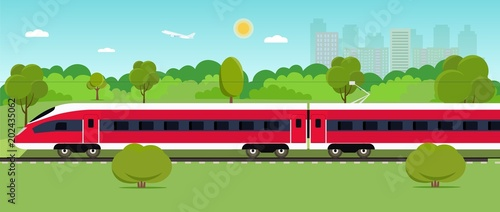 Foto op Plexiglas Turkoois Train on railway with forest and city. Vector flat style illustration