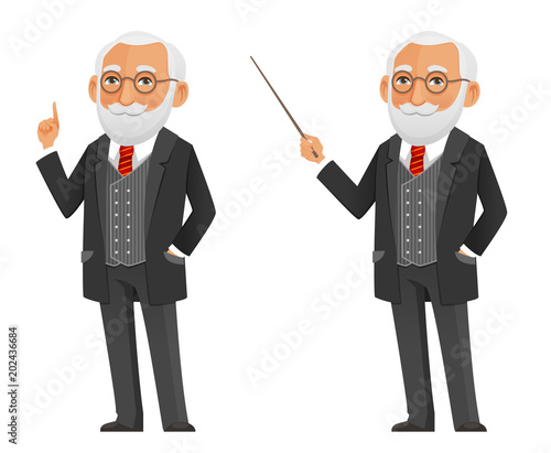 Fotografie, Obraz cartoon illustration of a senior professor or scientist in elegant black suit