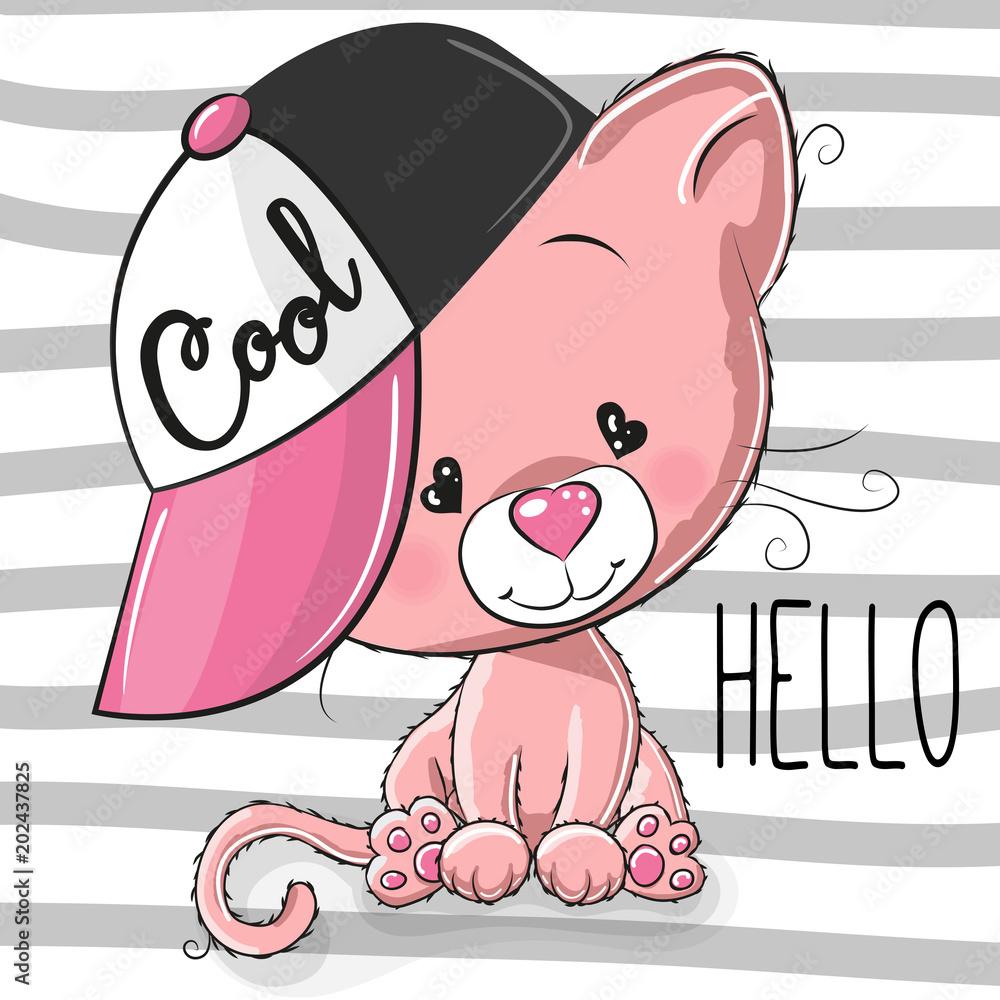 Śliczny kotek z różową czapką <span>plik: #202437825 | autor: reginast777</span>