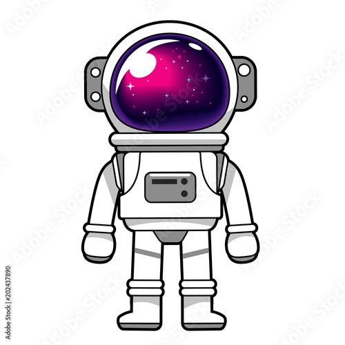 Fotografija Vector astronaut character with the galaxy reflected on helmet glass