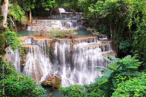 Fototapety, obrazy: Waterfall in Thailand, called Huay or Huai mae khamin in Kanchanaburi Provience