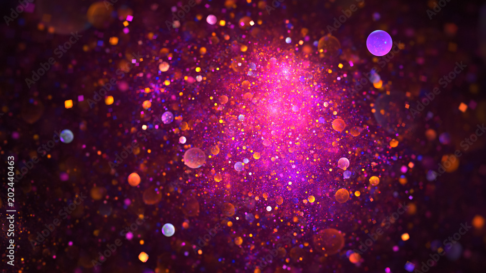 Fototapety, obrazy: Abstract chaotic glittering pink, purple and orange bubbles. Fantasy fractal design. Digital art. 3D rendering.