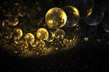 Abstract Chaotic Glittering Gold Bubbles. Fantasy Fractal Design. Digital Art. 3D Rendering.